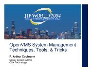 OpenVMS System Management Techniques, Tools ... - OpenMPE