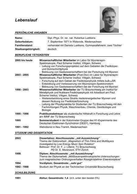 Lebenslauf Paul Scherrer Institute