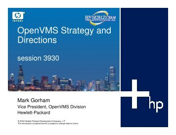 OpenVMS Strategy and Directions - OpenMPE