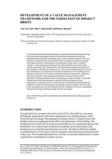 development of a value management framework for the ... - Arcom