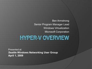 Ben Armstrong Senior Program Manager Lead Windows ... - SITPUG