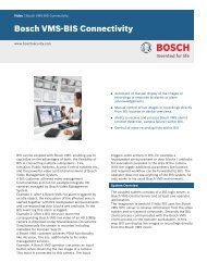 Bosch VMS-BIS Connectivity - Bosch Security Systems