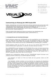 Lizenzvertrag zur Nutzung der VMS Visuals DVD