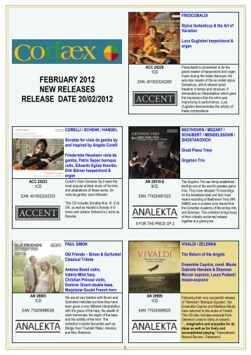 FEBRUARY 2012 NEW RELEASES RELEASE DATE 20/02/2012