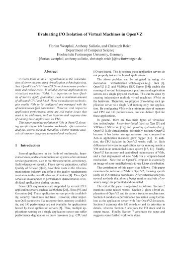 Evaluating I/O Isolation of Virtual Machines in OpenVZ - Hochschule ...