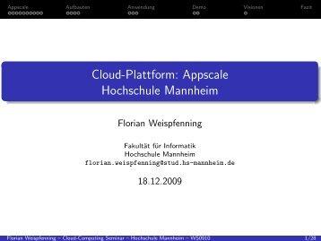 Appscale Hochschule Mannheim - Fakultät für Informatik ...