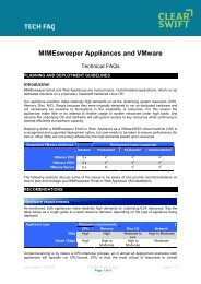 MIMEsweeper Appliances and VMware - Clearswift