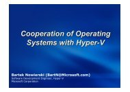 Cooperation of Operating Systems with Hyper-V Bartek Nowierski