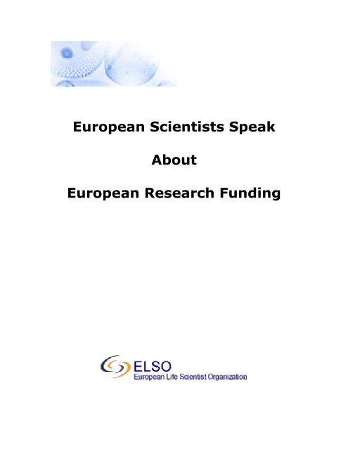European Scientists Speak About European Research Elso