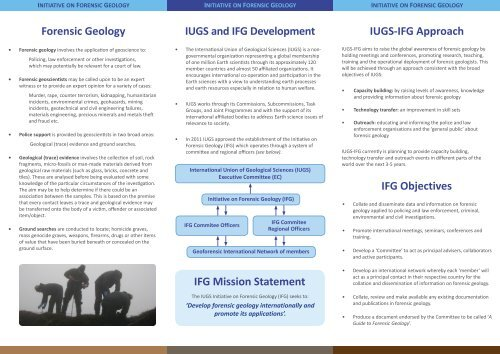 Forensic Geology Ifg Mission Statement Ifg Objectives Iugs Ifg