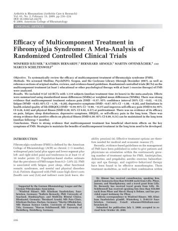 Efficacy of multicomponent treatment in fibromyalgia syndrome: A ...