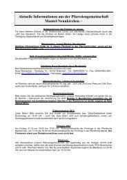 Aktuelle Informationen aus der Pfarreiengemeinschaft Mantel ...