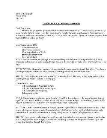 essay marking rubric university