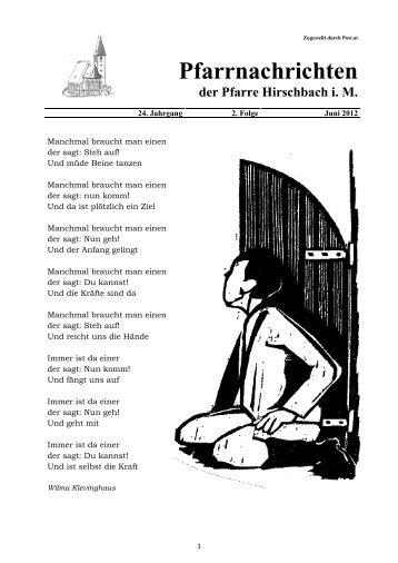 Pfarrnachrichten der Pfarre Hirschbach i. M.