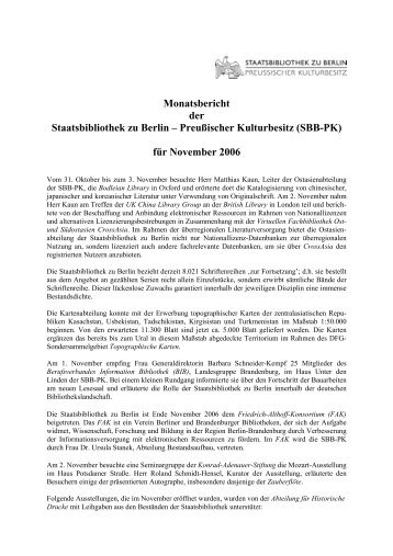 November 2006 - Staatsbibliothek zu Berlin
