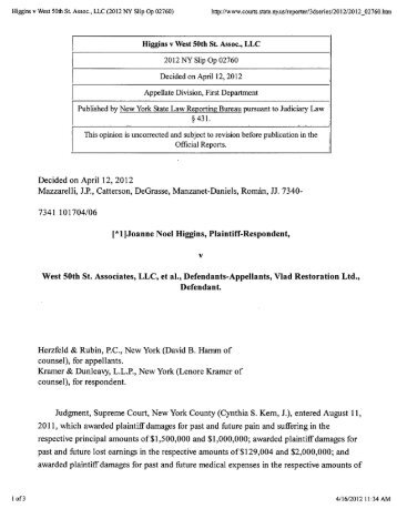 Higgins v. West 50th Street Associates, LLC - New York Injury Cases ...