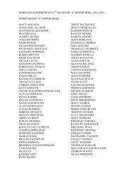 HERITAGE INTERMEDIATE 2 QUARTER 'A' HONOR ROLL, 2011 ...