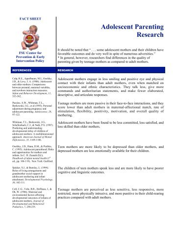 Adolescent Parenting Research - Center for Prevention and Early ...