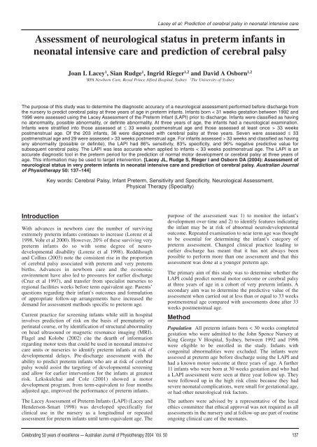 Assessment of neurological status in preterm infants in neonatal