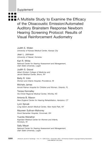 Supplement - American Journal of Audiology - American Speech ...