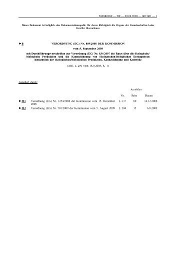 B VERORDNUNG (EG) Nr. 889/2008 DER KOMMISSION ... - Groma