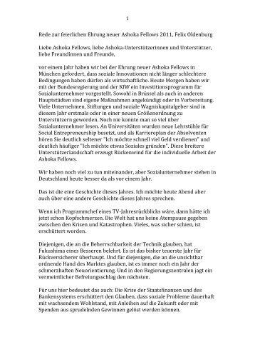 Rede zur feierlichen Ehrung neuer Ashoka ... - Ashoka Deutschland