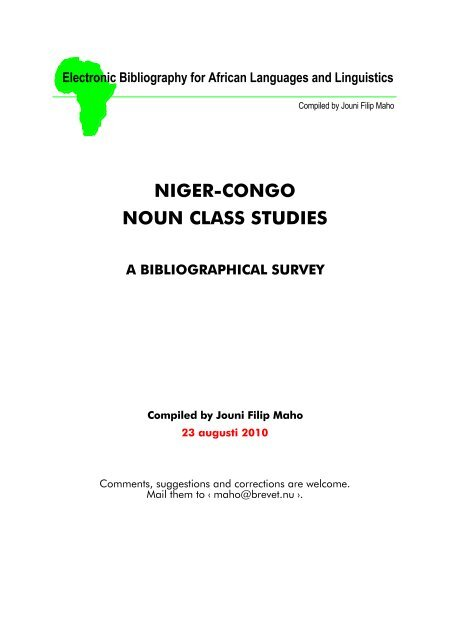 Niger-Congo noun class studies: a bibliographical survey - Glocalnet