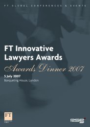 FT Innovative Lawyers Awards 5 July 2007 - FT Conferences