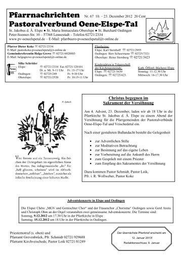 pfarrnachrichten 67 - Pastoralverbund Oene Elspe Tal