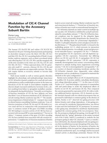 Modulation of ClC-K Channel Function by the Accessory Subunit ...