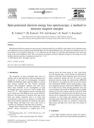 Spin-polarized electron energy loss spectroscopy: a method to ...