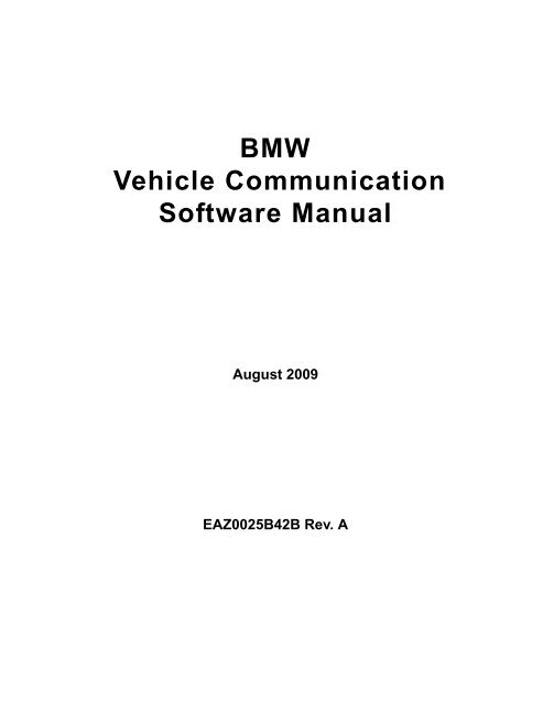 BMW Vehicle Communication Software Manual - Snap-on