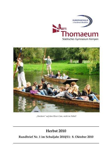 Rundbrief 1 Herbst 2010 - Gymnasium Thomaeum Kempen