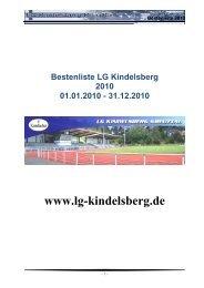 Bestenliste derLG Kindelsberg Kreuztal 2010 - Ben CMS v2.0
