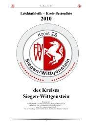 Leichtathletik – Kreis-Bestenliste 2010 des Kreises Siegen ...