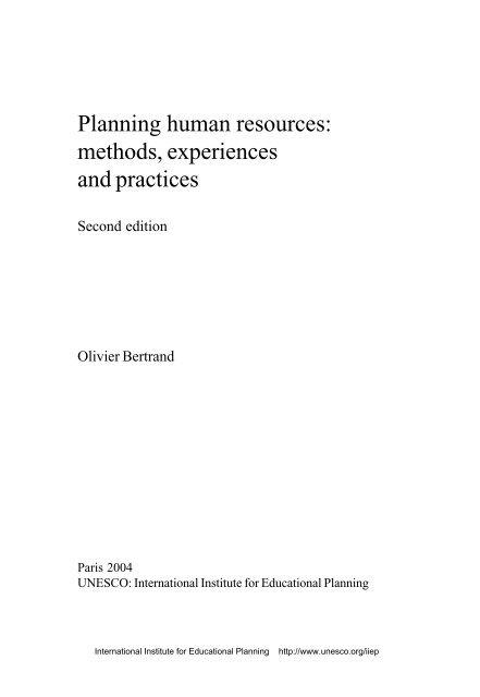 Planning human resources: methods ... - unesdoc - Unesco