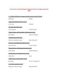 Award List, Central Kentucky Regional Science & Engineering Fair ...