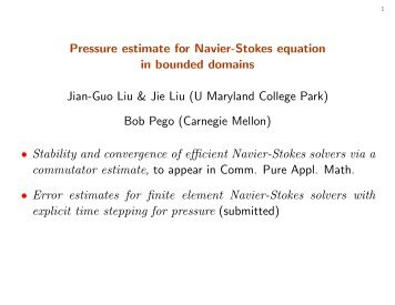 Pressure estimate for Navier-Stokes equation in bounded domains ...
