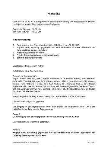 Gemeinderatssitzung 2007-12/2 (33 KB) - .PDF - Heidenreichstein