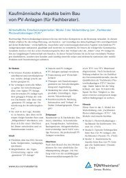 Kaufmännische Aspekte beim Bau von PV-Anlagen (für ... - Tuv