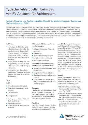 PV-Modul Sicherheitszertifizierung entsprechend IEC 61730 ... - Tuv