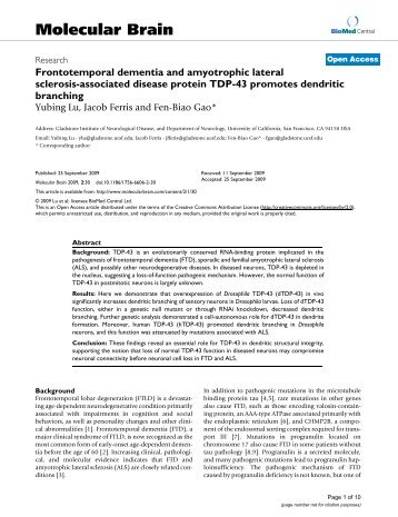 Frontotemporal dementia and amyotrophic lateral ... - BioMed Central
