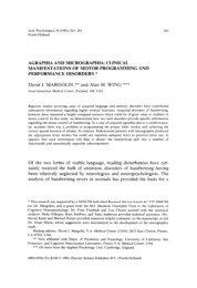 AGRAPHIA AND MICROGRAPHIA: CLINICAL MANIFESTATIONS ...
