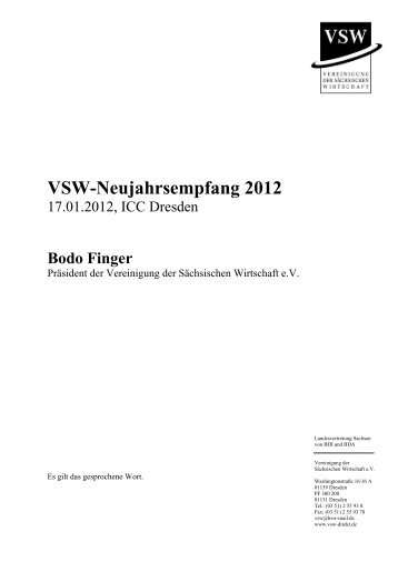 Bodo Finger - VSW | Vereinigung der sächsischen Wirtschaft