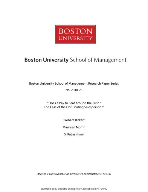 Boston University School of Management Research Paper Series ...