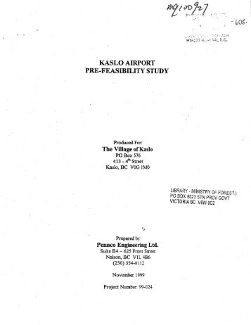 KASLO AIRPORT PREJEASIBILITY STUDY - Ministry of Forests