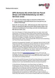 DPD (Schweiz) AG erhöht Zahl der Parcel Shops und treibt ...