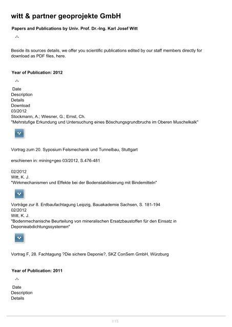 witt & partner geoprojekt GmbH: Publications