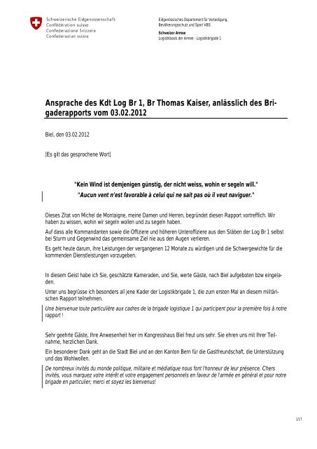 Ansprache des Kdt Log Br 1, Br Thomas Kaiser, anlässlich des Bri ...