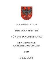 Vorarbeiten Schlussbilanz 2003 - Katlenburg-Lindau